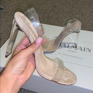 "Clear/Tan 4"" Heels"